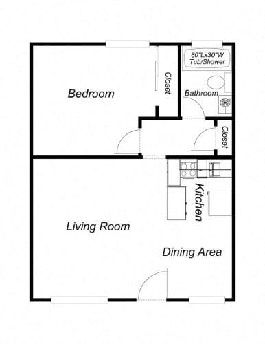 Floor Plan  1 Bedroom, 1 Bathroom (600)