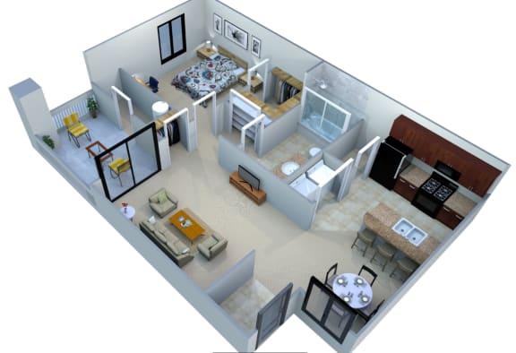 Floor Plan  San Portella Apartments 1 Bedroom 1 Bath Floor Plans 1B Tempe, Arizona