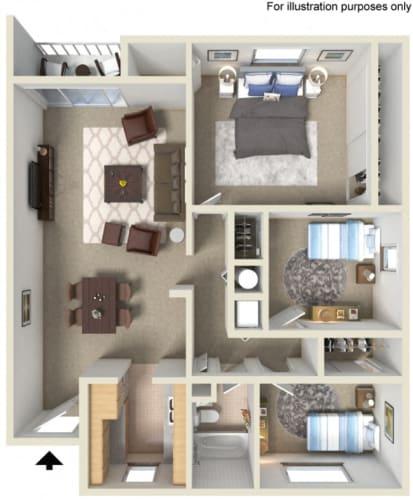 Floor Plan  The Goose Aloha, Oregon 3 Bedroom 1 Bath 3D Floor Plan