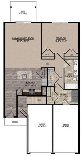 Floor Plan  Interior First Floor with One Car Attached Garage