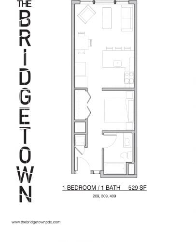 Floor Plan  Bridgetown - One Bedroom One Bathroom Floor Plan 2