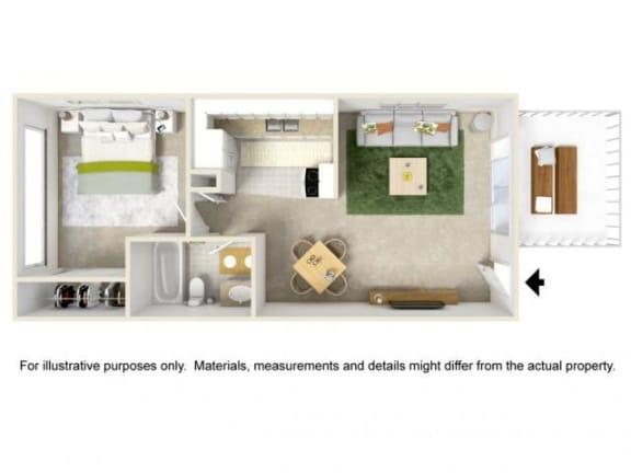 Floor Plan  Garden Style - One Bedroom