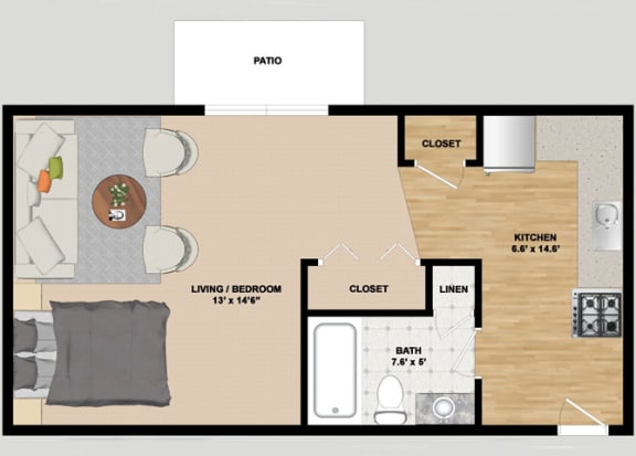 Floor Plan  Studio Floor Plan at Heather Downs Apartments in Madison Wisconsin