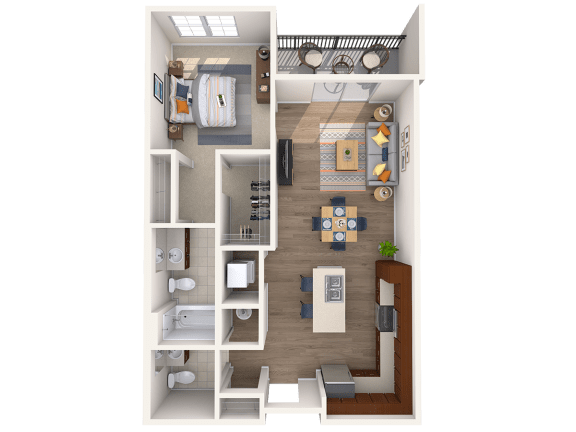 Floor Plan  A2A 1Bed_1.5Bath at Avenue Grand, Maryland