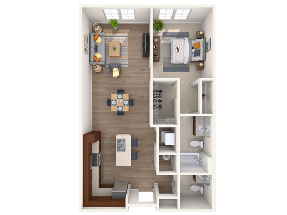 Floor Plan  A5A 1Bed_1.5Bath at Avenue Grand, White Marsh, 21236
