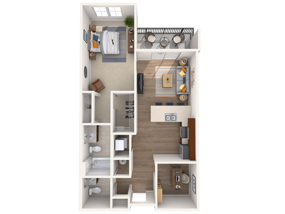 Floor Plan  A7AD 1Bed_1.5Bath at Avenue Grand, White Marsh