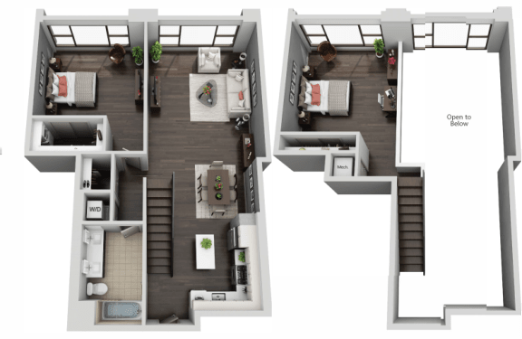 Floor Plan  Two Bedroom, Two Bath Loft Floor Plan at The Mansfield at Miracle Mile, Los Angeles, California