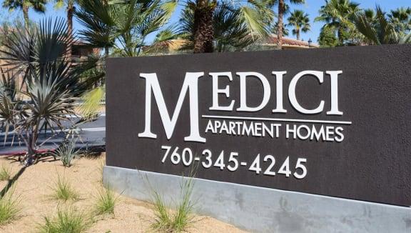 Welcoming Property Signage at Medici Apartment Homes, California