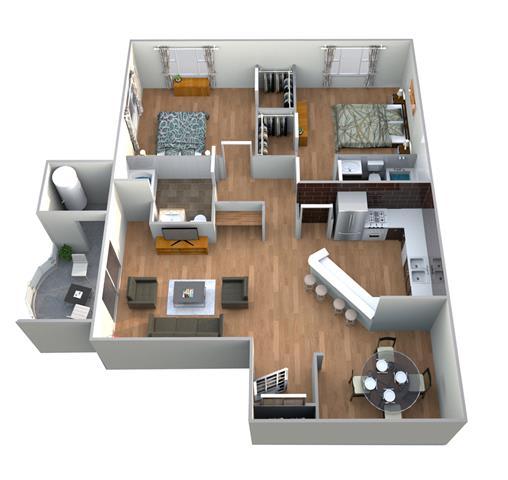 Floor Plan  Villa Farnese Floor Plan at Medici Apartment Homes, Bermuda Dunes, 92203