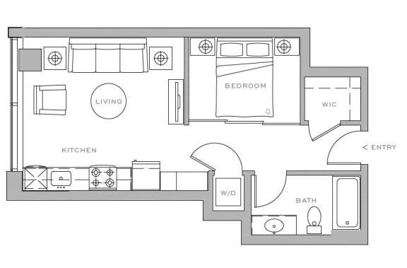 Floor Plan  open 1x1 D1 500 sf
