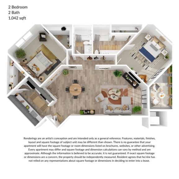 Floor Plan  2 bedroom, 2 bathroom 1042 square feet