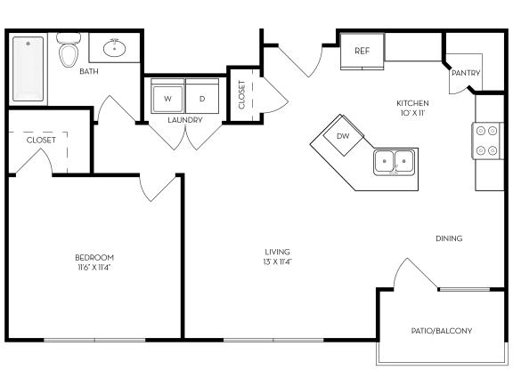 Floor Plan  1 bed 1 bath 691 sf