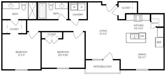 Floor Plan  2 bed 2 bath 1025 sf