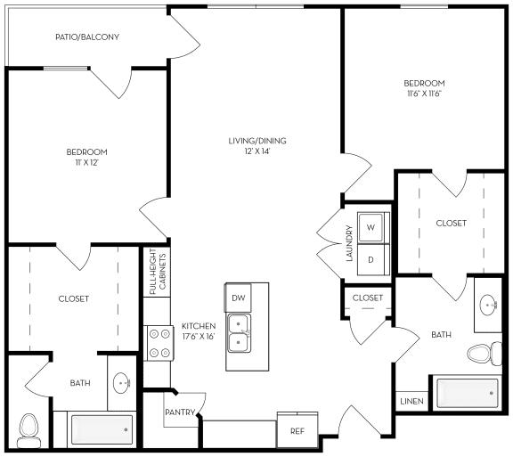Floor Plan  2 bed 2 bath 1061 sf