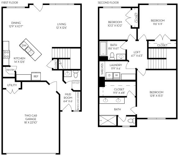Floor Plan  3 bed 2.5 bath 1485 sf