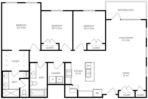 Floor Plan  3 bed 2 bath 1368 sf
