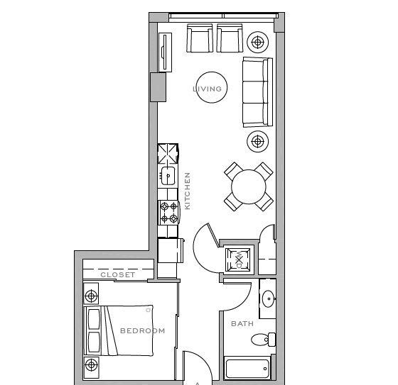 Floor Plan  1x1 C 598 sf