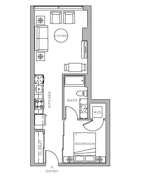 Floor Plan  open 1x1 F 554 sf