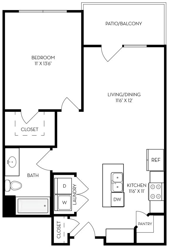Floor Plan  1 bed 1 bath 681 sf