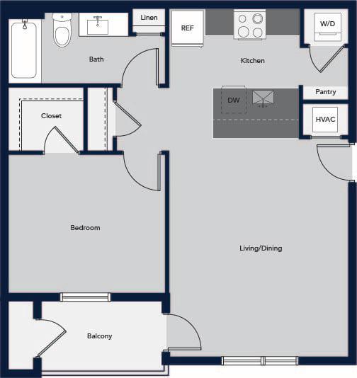 Floor Plan  One Bedroom One Bath Floor Plan at Cielo, Santa Fe, 87507