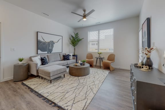 Living Room With Expansive Window at Cielo, Santa Fe, NM, 87507