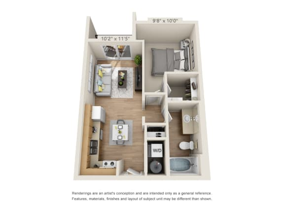 Floor Plan  One Bedroom_575 at 206, Hillsboro