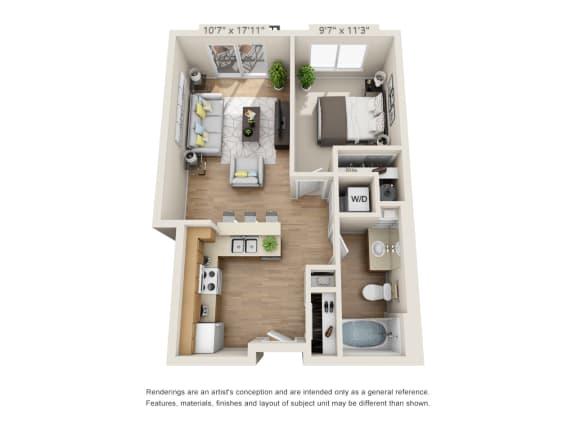 Floor Plan  One Bedroom_615 at 206, Oregon