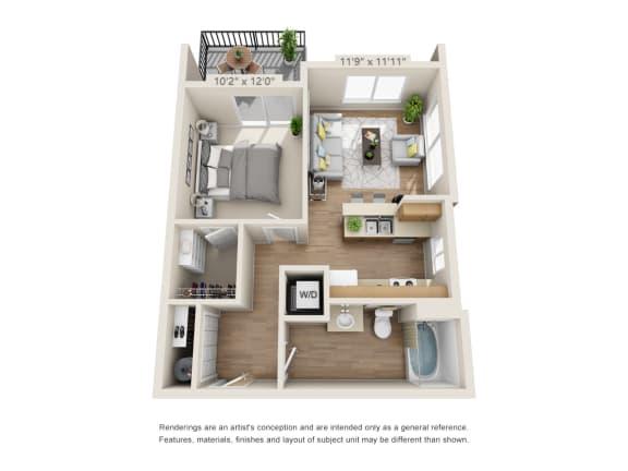 Floor Plan  One Bedroom_625 at 206, Oregon, 97006