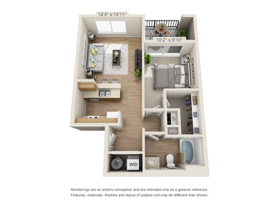 Floor Plan  One Bedroom_650 at 206, Hillsboro, OR