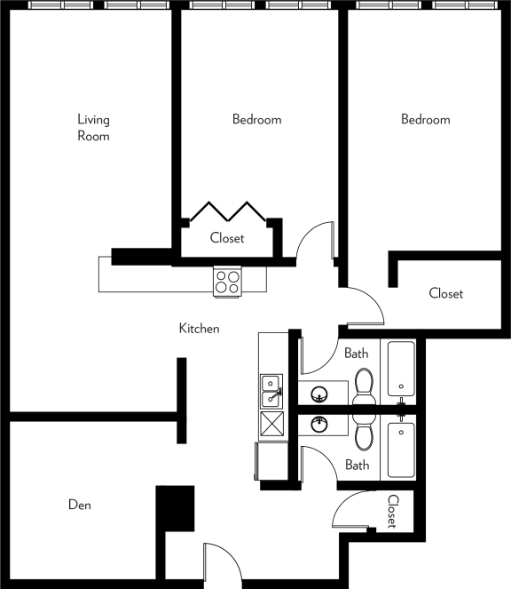 Floor Plan  B2-F Floor Plan at The Luckman, Ohio