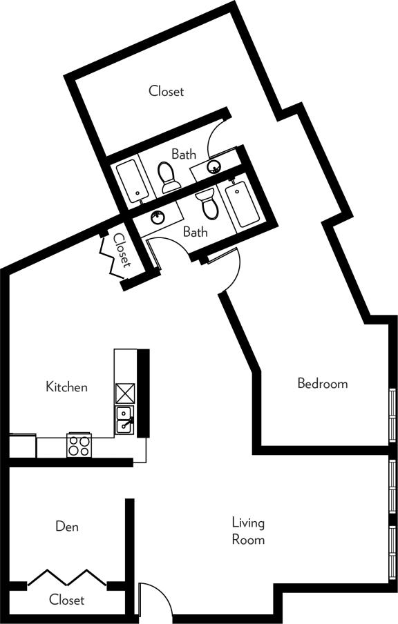 Floor Plan  B2-U Floor Plan at The Luckman, Cleveland, OH