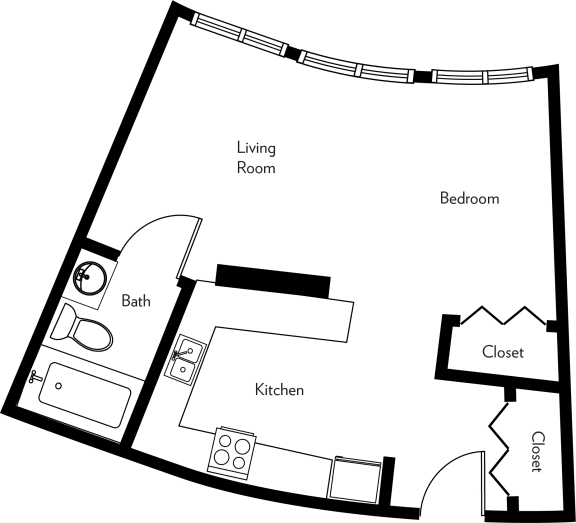 Floor Plan  E1-A Floor Plan at The Luckman, Cleveland, Ohio