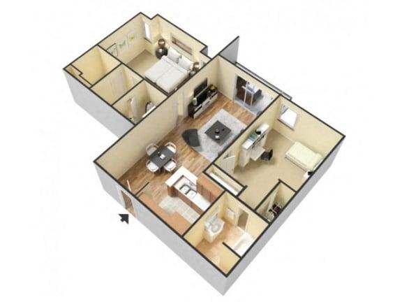 Floor Plan  2 Bed 2 Bath Floor Plan