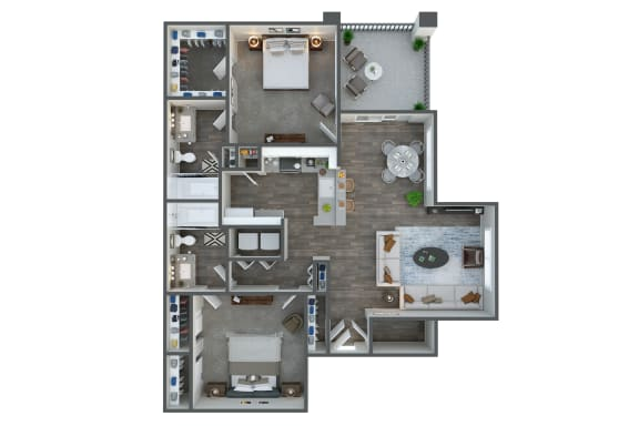 Floor Plan  Junction two bedroom two bathroom at Tempe Station, Tempe