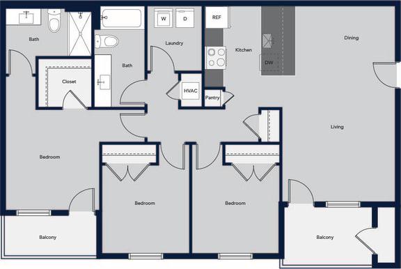 Floor Plan  3 Bed 2 Bath Floor Plan at Cielo, New Mexico