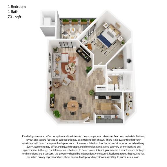 Floor Plan  1 bedroom, 1 bathroom 731 square feet