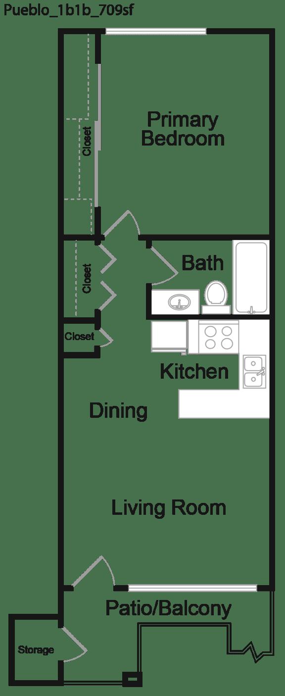 Floor Plan  One Bedroom A Floor plan at Portola West Valley, Phoenix, 85035