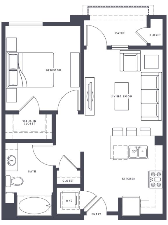 Floor Plan  A1 1x1 648 Sf