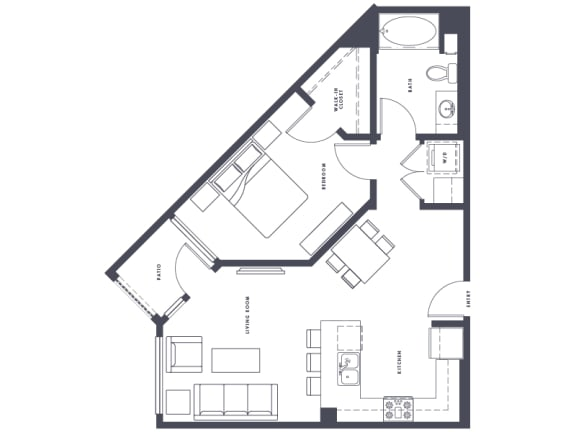 Floor Plan  A2 1x1 746 SF