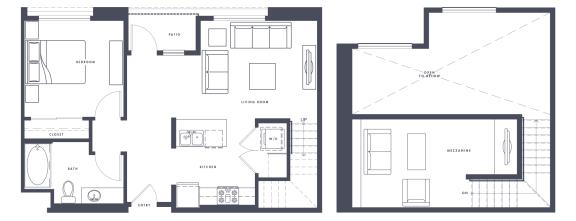 Floor Plan  A4 Loft 1x1 755 sf