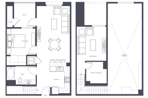 Floor Plan  A5 Loft 927 sf 1x1