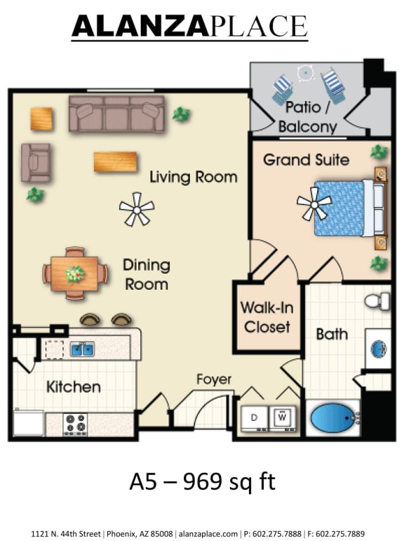 Floor Plan  one bedroom one bathroomE at Alanza Place, Arizona