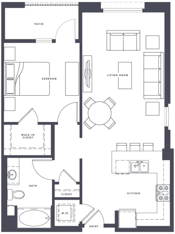 Floor Plan  A7 1x1 807 sf