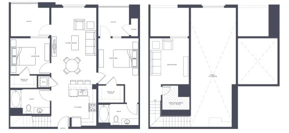 Floor Plan  B1 loft 2x2 1230 SF