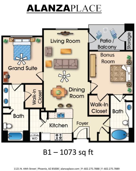 Floor Plan  Two bedroom two bathroom Floor plan at Alanza Place, Arizona, 85008