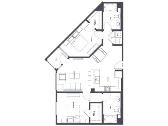 Floor Plan  B3 2x2 1070 sf