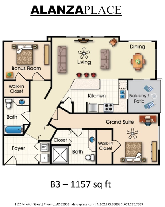 Floor Plan  Two bedroom two bathroom B Floor Plan at Alanza Place, Phoenix, AZ