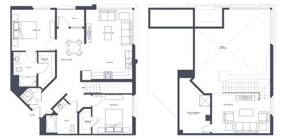 Floor Plan  B4 with Loft 2 x 2 1430 sf