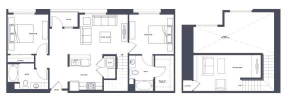 Floor Plan  B5 with Loft 2x2 1213 SF