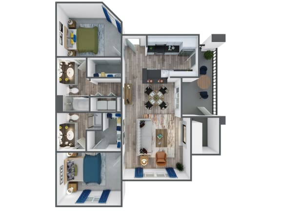 Floor Plan  Two Bedroom, Two Bathroom at The Springs at Continental Ranch